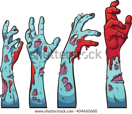 cartoon zombie hands vector