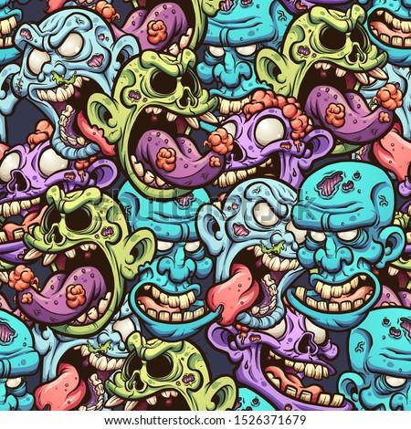 cartoon zombie head seamless
