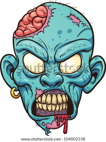 Cartoon zombie head. Vector illustration with simple gradients. All in ...