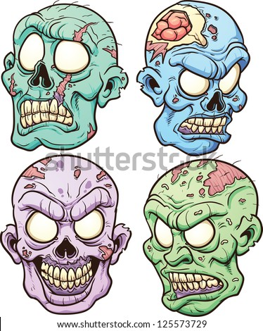 Cartoon zombie heads. Vector clip art illustration with simple gradients. Each in a separate layer.