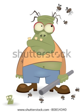 cartoon zombie isolated on