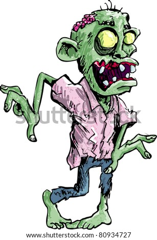 Cartoon zombie isolated on white Cartoon zombie with brains exposed ...