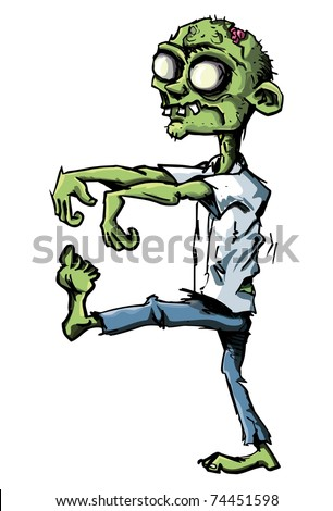 Cartoon zombie isolated on white. He is lurching with his arms out stretched