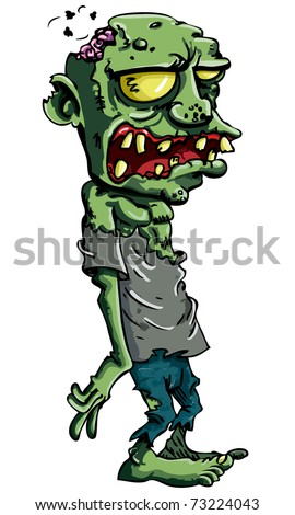 Cartoon zombie isolated on white. His brains are sticking out of his head