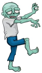 Cartoon zombie male is coming