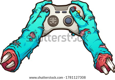 Cartoon zombie severed hands holding a video game controller. Vector clip art illustration with simple gradients. All in a single layer.