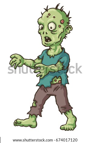 cartoon zombie walking