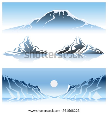 cartooned winter mountains