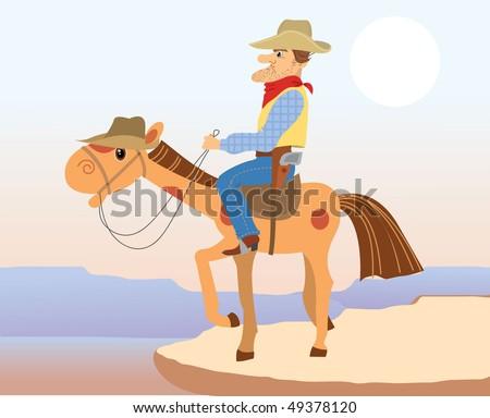 Cartoons cowboy on horse.Vector