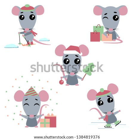 Cartoons rats on the white background. The set consists of a rat who skate and ski, makes purchases, celebrates a birthday, celebrates the new year.