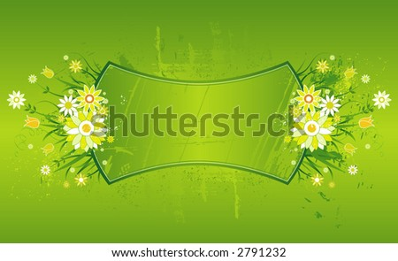 Cartouche with many marguerite on the green background
