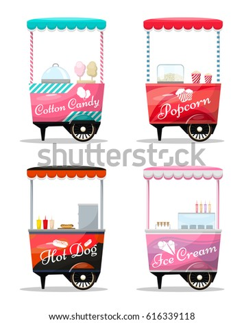 carts set retail  popcorn