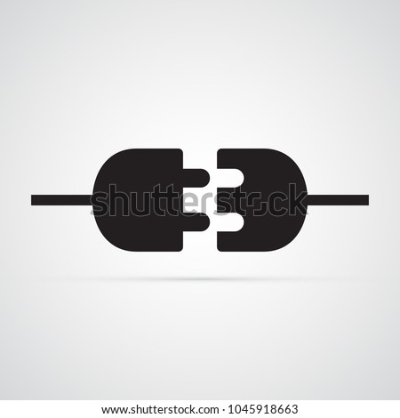 Carved silhouette flat icon, simple vector design. Electric plug for illustration of electricity, wiring, repairs. Symbol of  connection type