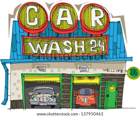 carwash station   cartoon