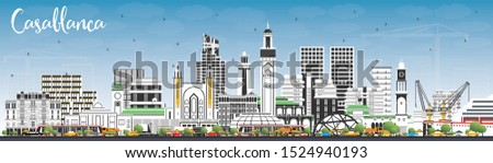 Casablanca Morocco City Skyline with Color Buildings and Blue Sky. Vector Illustration. Business Travel and Concept with Historic Architecture. Casablanca Cityscape with Landmarks.