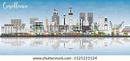 Casablanca Morocco City Skyline with Color Buildings, Blue Sky and Reflections. Vector Illustration. Business Travel and Concept with Historic Architecture. Casablanca Cityscape with Landmarks.