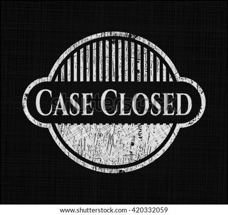 Case Closed chalkboard emblem written on a blackboard