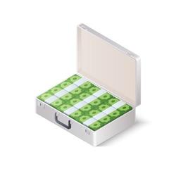 Case full of money. Isometric vector illustration