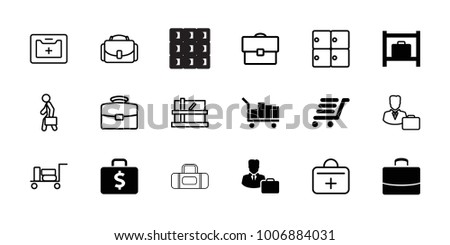 Case icons. set of 18 editable filled and outline case icons: luggage storage, luggage cart, luggage, parcel, medical kit, first aid kit