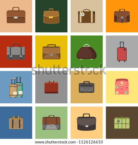 Case icons variants of briefcase and baggage on white background.. Vector illustration