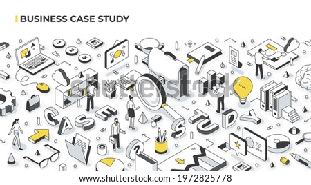 Case study marketing and education concept. People analyze real-life scenarios of doing business by a successful company. Abstract isometric illustration Foto d'archivio ©