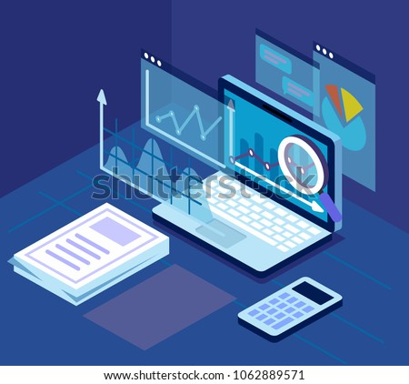Case study research concept pc on table. Flat style vector