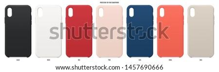cases set for smartphone with shadow isolated on white background. realistic and detailed silicone protection for mobile phone. stock vector illustration ストックフォト ©