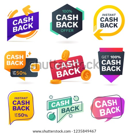 Cash back icons set. Colorful cashback banner collection. Money refund signs. Return of money from purchases. Promotion badges for your business. Vector illustration.