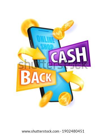 Cash back money reward, internet shopping bonus program vector logo, sticker with smartphone screen. Online saving concept with golden dollar coins, arrows. Cash back finance sticker isolated on white