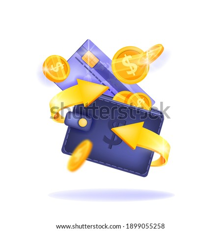Cash back, money saving vector concept with dollar coins, wallet, arrows, credit card, isolated on white. Guarantee bonus program finance sticker. Online shopping, cash back sale offer emblem, logo
