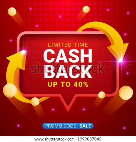 cash back offers vector banners with flying coins