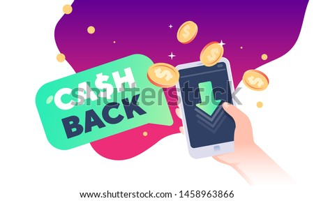 cash back text with phone in hand and gold dollar coins