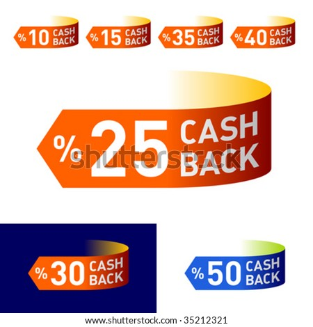 Cash-Back. Vector emblem. You can easily change colors and background.