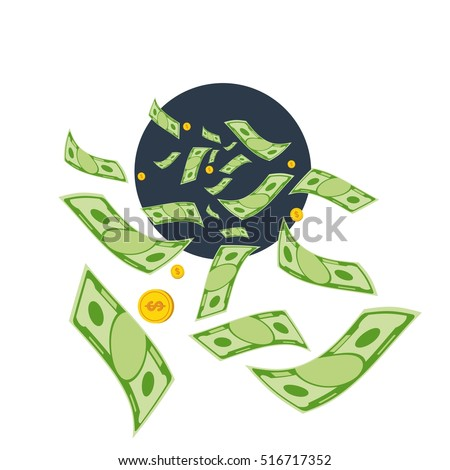 Cash flow. Banknotes fly away into a black hole. Bankruptcy and the collapse of the monetary system. Flat vector cartoon cash flow illustration. Objects isolated on a white background.