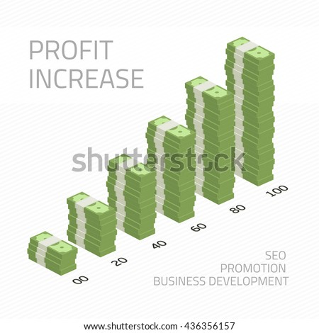 Cash flow graph. Market growth concept. Vector illustration of big stacked pile of cash. Hundreds of dollars. Modern design isolated on white background. Modern currency concept profit growth.