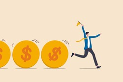 Cash flow, investment fund flow, fund raising, bank loan or financial activity to making money or profit concept, Businessman leader or investor holding flag control flow of money Dollar coins.