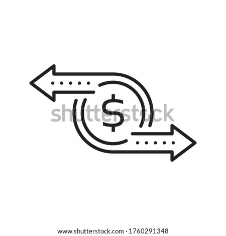 cash flow like simple thin line money icon. flat stroke trend modern black coin logotype graphic linear design illustration isolated on white. concept of recurring payment or instant p2p currency swap