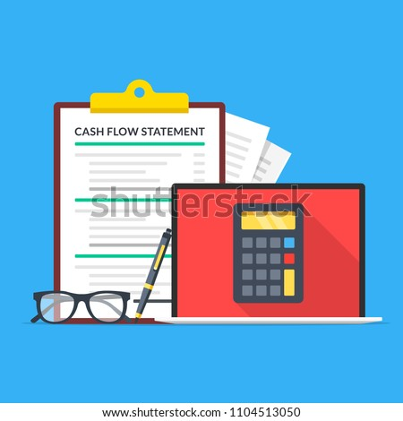 Cash flow statement. Laptop with calculator on screen, glasses, pen and clipboard with financial statement. Accounting, income calculation concept. Flat design. Vector illustration