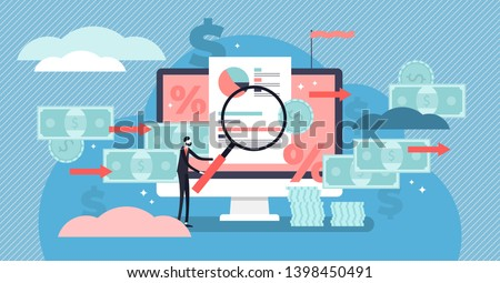 Cash flow vector illustration. Flat tiny money management person concept. Financial wealth payment and income graph analysis. Accounting economical data report chart. Abstract expenses control system.