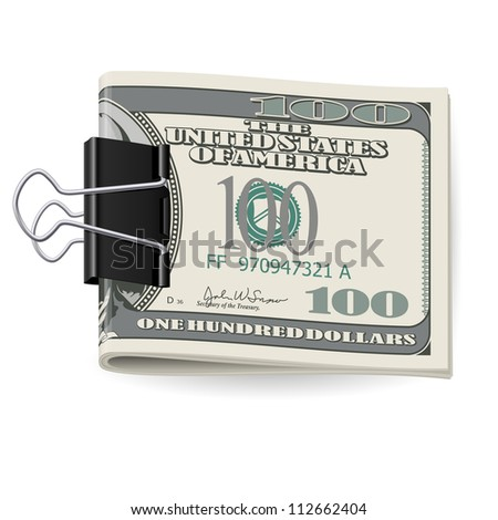 Cash folded in a Binders clip. Illustration on white