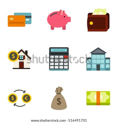 Cash home budget money icons set. Flat illustration of 9 home budget vector icons logo isolated on white background