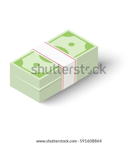 Cash icon. Isometric illustration of cash vector icon for web