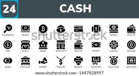 cash icon set 24 filled cash