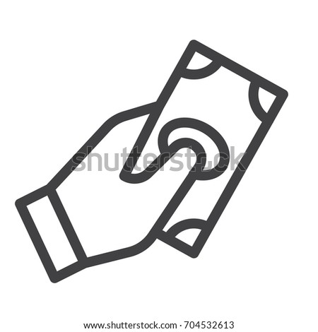 Cash in hand line icon, outline vector sign, linear style pictogram isolated on white. Pay symbol, logo illustration. Editable stroke. Pixel perfect vector graphics