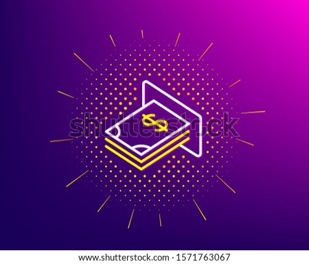 Cash money line icon. Halftone pattern. Banking currency sign. Dollar or USD symbol. Gradient background. ATM money line icon. Yellow halftone pattern. Vector
