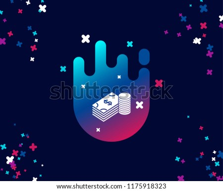 Cash money simple icon. Banking currency sign. Dollar or USD symbol. Cool banner with icon. Abstract shape with gradient. Vector
