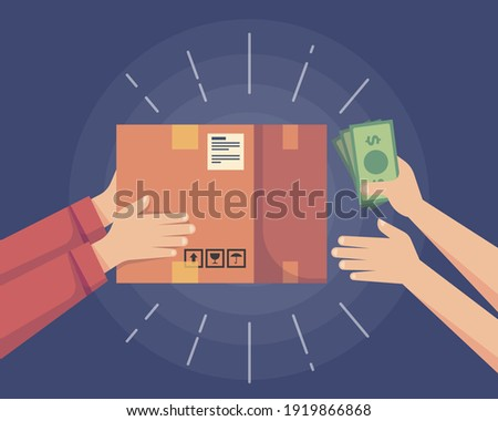Cash on delivery. Postal parcel and banknote. Payment by cash for express delivery package. Pay for delivery by cash. Human hand holds money. Pay for package. Postman,сourier get payment for delivery.
