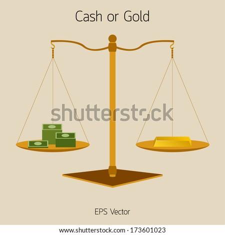 Cash or Gold Balance Vector