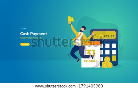 Cash payment illustration, A man receives money in cash for payday illustration concept