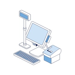 Cash register, receipt printer, computer screen. Vector 3d line isometric, color web icons, new flat style. Creative illustration, idea for infographics.